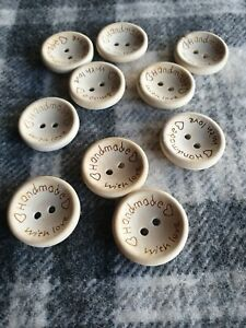 10 natural coloured HANDMADE WITH LOVE 2 hole wooden buttons 25mm  FREE post