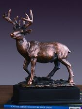 """Handcrafted White Tail Deer Bronze Figurine Statue 7"""" x 8.5"""""""