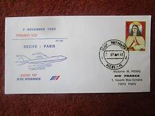 ENVELOPPE AIR FRANCE PREMIER VOL LIAISON RECIFE PARIS BOEING 747 AF 096 11/1982