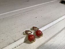 Gold Detailed Pink Dangle Clip On Earrings