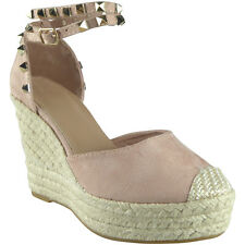Womens Ladies Studded Ankle Strap Espadrilles Platform Shoes Wedge Sandals Size