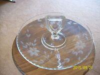 Crystal Vintage Depression Floral Etched Glass Handled Serving Sandwich Plate