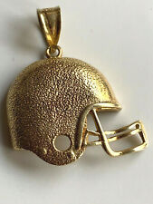 14k Yellow Gold American Football Helmet Pendant Charm Necklace