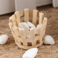 1:12 Dollhouse mini round wooden basket simulation vegetable basket model toy mi