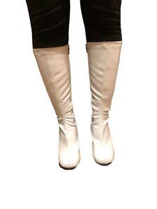 White Patent GoGo Sz 10 Knee High Boots Halloween Costume Disco Dancer 60s READ