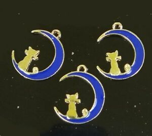 10 Cat on Moon Blue Enamel Gold Plated Metal Charms Pendant 17x13mm