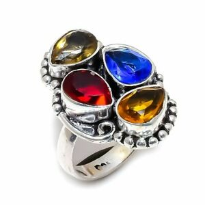 Garnet  Multi Gemstone Handmade 925 Sterling Silver Jewelry R-3 Ring Size 7
