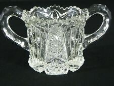 Antique Imperial Glass Elegant Nucut Crystal Sugar Bowl #212 Diamond Star & Fan