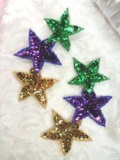"Sequin Star Mardi Gras Applique Mirror Pair 3 Star beaded Applique 5"" (Jb269)"