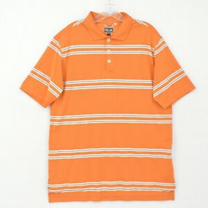 Adidas Climacool Polo Shirt Adult L Large Orange Striped Breathable Vented Golf