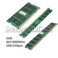 2GB Memory RAM DDR2 PC6400 PC2-5300/U 667/800MHZ 200/240Pin Desktop PC Memory