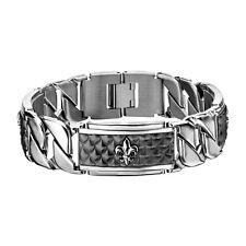 """Hollis Bahringer 316L Stainless Steel Carbon Fiber Fleur de Lis ID Bracelet 8.5"""""""