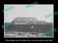 OLD LARGE HISTORIC PHOTO OF WYUNA STATION, WOOL SHED ON THE GOULBURN RIVER c1880