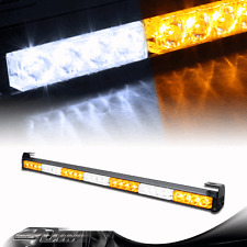 "31.5"" Amber / White 28 LED Traffic Adviser Emergency Warning Strobe Light Bar B"