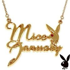 Playboy Necklace Bunny Pendant Chain Gold Plated Swarovski Crystal MISS JANUARY