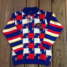 Vintage Tabby By N K Goel Blue Red Square Stripe Sweater 32 Kids Collection Boxy