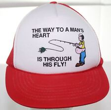 Vintage The Way To A Man's Heart Is Through His Fly Funny Fishing Trucker Hat