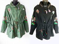 UK Women Ladies Autumn Cotton Floral Embroidery Coat Jacket Parka