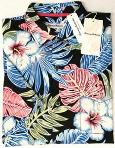 Tommy Bahama Short Sleeve Silk Shirt Floral Konkan Jungle Black Stretch