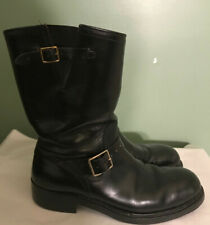 Vtg 50s/60s Hy-Test Black Leather Safety Steel Toe Engineer Motorcycle Boots 10