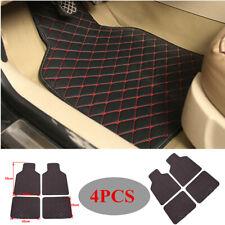 4PCS Leather Car Floor Mats Waterproof Liners Carpets Comfort Black+Red Line Kit