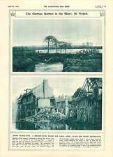 1917 German Retreat Noyon Dykes And Bridge Destroyed By Germans
