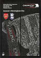 CARLING LEAGUE CUP FINAL 2011 Arsenal V programma BIRMINGHAM Nuovo di zecca