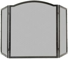 50 in. Fireplace Screen 3-Panel Heavy-Duty Steel with Rivets, Antique Black