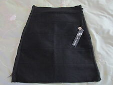 Poof Couture Black Knit Double Zipper Bodycon Mini Skirt NWT SZ: L