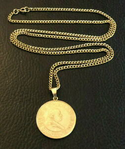 """Gold Coin Necklace Italian Pope Vatican 14k Gold Bail + 12k GF Chain 24"""" #1555"""