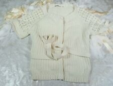 Elie tahari Size large womens belted white short sleeve cardigan sweater