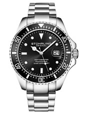 *BNIB* Mens Stuhrling Professional Pro-Sport Divers Black Steel Watch *HOT DEAL*