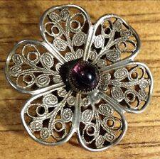 Vintage Silvertone And Amethyst Filigree Flower Pin Brooch