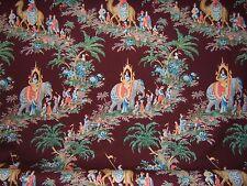 "Brunschwig & Fils ""Beauport Promenade""  cotton print by the yard color burgundy"
