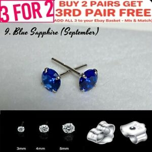 SAPPHIRE BLUE 925 SOLID STIRLING SILVER CZ ROUND STUD EARRINGS 3mm 4mm 5mm