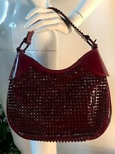 New Burberry Elly Ox Blood Bordo Red Patent Leather Studded Handbag