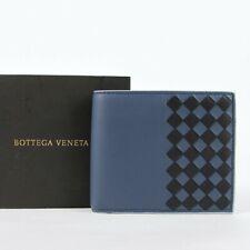 Bottega Veneta Men's Blue/Black Leather Intrecciato Bi-fold Wallet 113993 8386