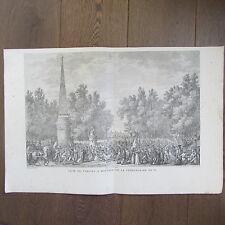 GRAVURE 1850 PAR VERNET NAPOLÉON 1797 FÊTE DE VIRGILE A MANTOUE
