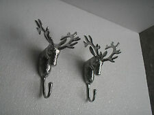 Metal Stag Head Wall Mount Coat Hook set of 2 Deer Buck Antelope Embose au