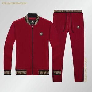 Slim fit velour tracksuit greek design Red