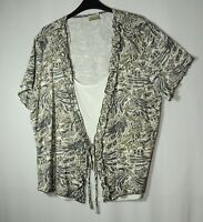 IVORY KHAKI GREEN LADIES CASUAL TOP BLOUSE STRETCH SIZE XL ROMAN ORIGINALS 2IN 1