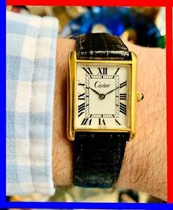 VINTAGE 1970s CARTIER TANK PARIS GENTS 18K ELECTROPLATED 23MM SERVICED MOVEMENT!