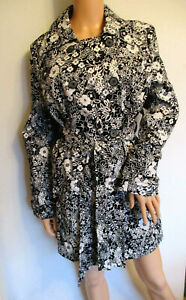 Old Navy Black and White Pretty Floral Trench Coat Mac Size Large