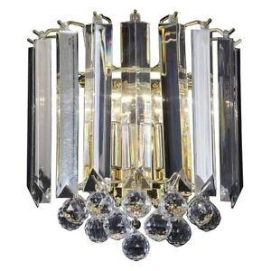 Endon Fargo 2lt wall chandelier light 60W Brass effect plate & clear acrylic