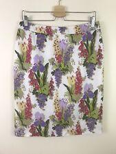Laura Ashley White Floral 100% Linen Summer Pencil Skirt, Lined, UK 12