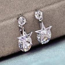 New Women White Gold Plated Clear Shining Crystal Zircon Drop Earrings Star Shap