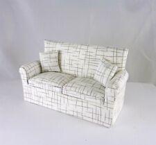 Dollhouse Miniature Artisan Upholstered Cross Hatch White Sofa