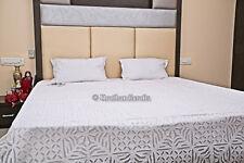 King Size Bedding Indian Applique Organza Bedspread Ethnic Decor Cut Work Quilt