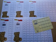 NAME THE TEDDY SCRATCH CARDS - 88 SPACES(COLOURED) - SET OF 5 +FREE SCRATCH CARD