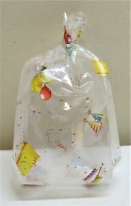 """LOT 20 MEDIUM """"LETS PARTY"""" CLEAR CELLO GOODIE TREAT BAGS WITH SILVER TWIST TIES"""